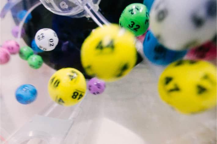 Group of colourful bingo balls