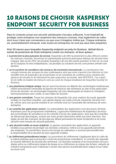 10 raisons de choisir Kaspersky Endpoint Security for Business