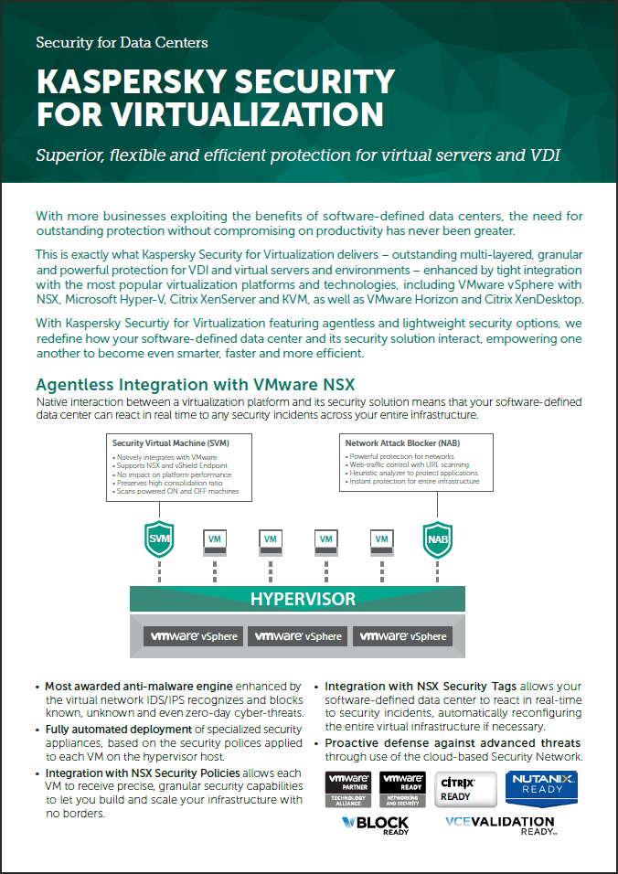 Kaspersky Security for Virtualization - Fiche technique de la solution